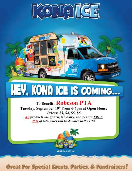 Kona Ice to Benefit Robeson PTA